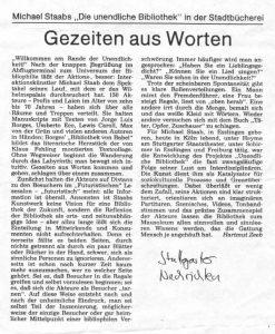 Stuttgarter Nachrichten vom 19(?). Juli 1996 über Die unendliche Bibliothek