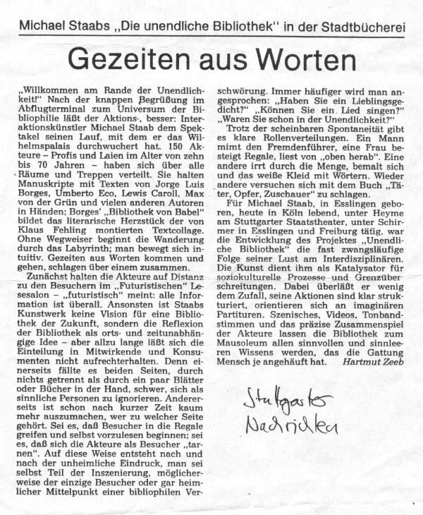 """It was twenty years ago today... Die Unendliche Bibilothek"""" im Stuttgarter Wilhelmspalais."""